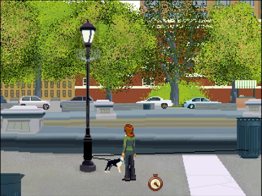 In order for Rosa to ask for Nishanti's help she will need to get Moti's leash tangled around the lamp post.
