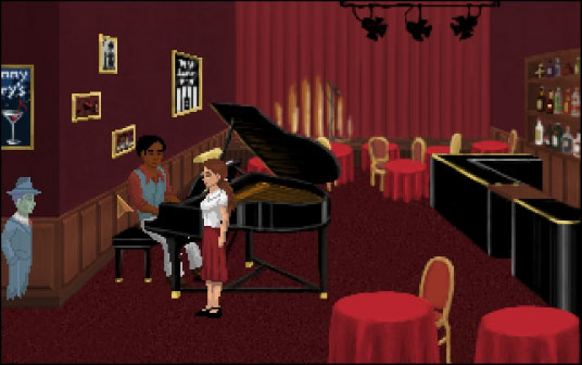 At Johnny Ivory's the first things of importance are the sheet music on the piano and the photo on the wall behind the piano player.